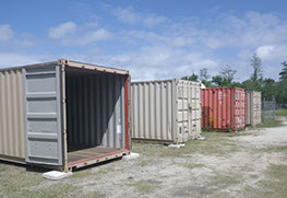 Row of containers in storage yard, Douglas Storage Park